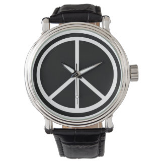 Black & White Peace Sign Wrist Watch