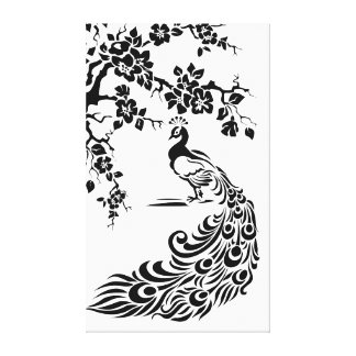 Black white peacock and cherry blossoms custom stretched canvas print