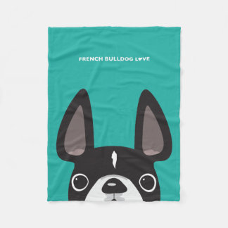 Black & White Peeking Frenchie Fleece Blanket