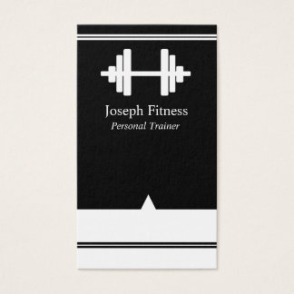 Black White Personal Trainer Fitness Business Card