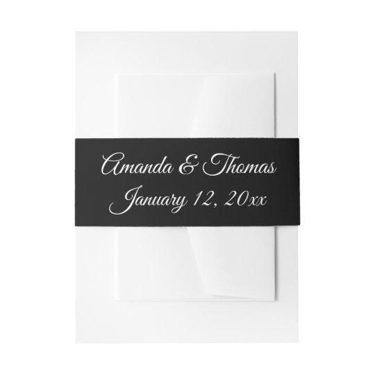 Black & White Personalised Wedding Invitation Band Invitation Belly Band