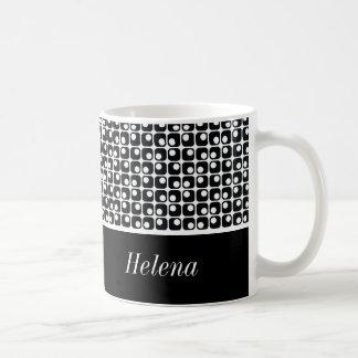 Black & White Personalized, Retro Squares Pattern Coffee Mug