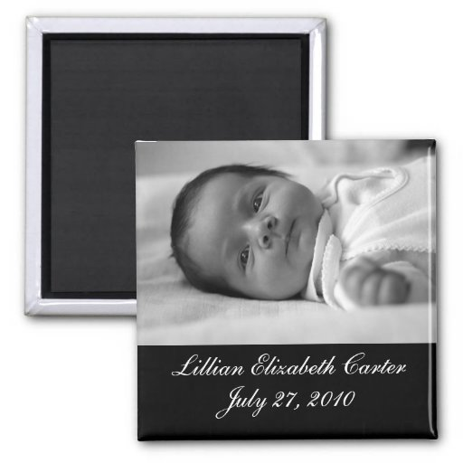 Black White Photo Baby Birth Magnet