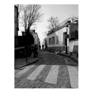 Black & White Photo of Cobbled Street in Montmarte Postcard