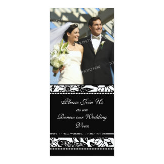 "Black & White Photo Wedding Vow Renewal Invitation 4"" X 9.25"" Invitation Card"