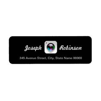 Black White Photography Camera Lens Logo Return Address Label