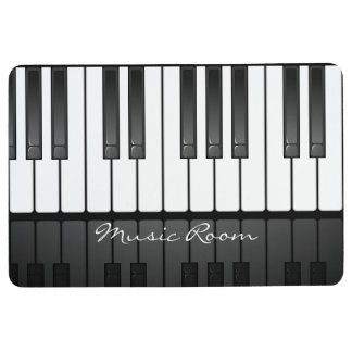 Black White Piano Keyboard Design Floor Mat