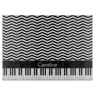 Black White Piano Keys and Chevron Cutting Board