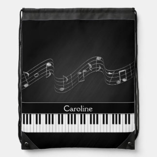 Black White Piano Keys and Musical Notes Backpacks