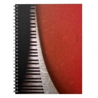 Black White Piano Keys Red Flora Pattern Print Spiral Note Books