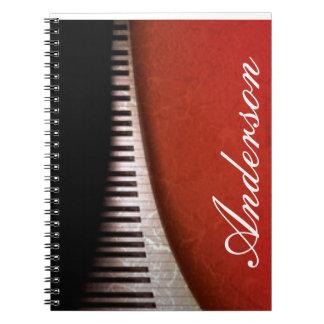 Black White Piano Keys Red Flora Pattern Print Spiral Notebook