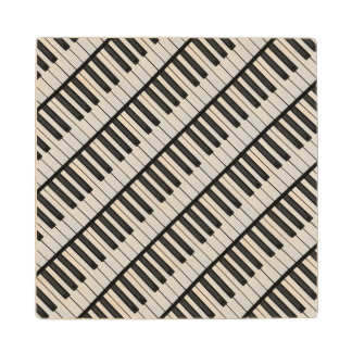 Black & White Piano Keys Wood Coaster