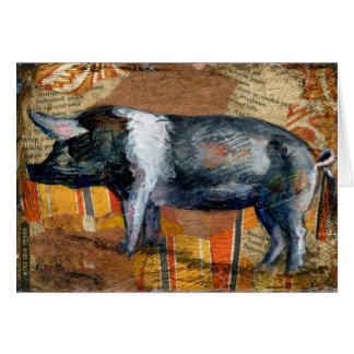 """Black & White Piggy"", a piggy greeting card"