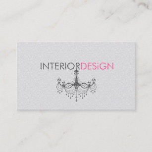 Pink chandelier business cards zazzle au black white pink chandelier interior design 3 business card reheart Gallery