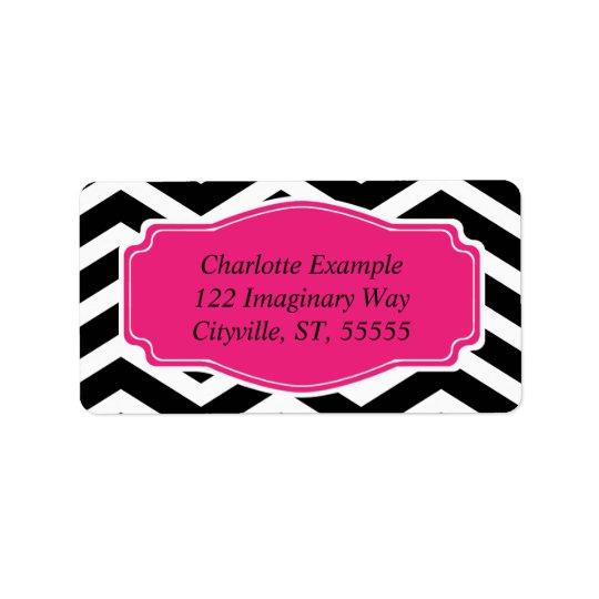 Black White Pink Chevron Personal Address Label