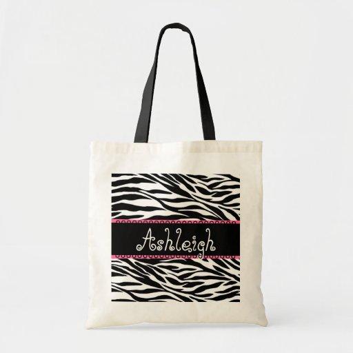 Black White Pink Custom Name Zebra Print Bag