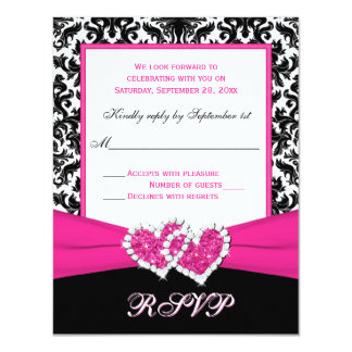 Black, White, Pink Damask & Hearts Reply Card 11 Cm X 14 Cm Invitation Card