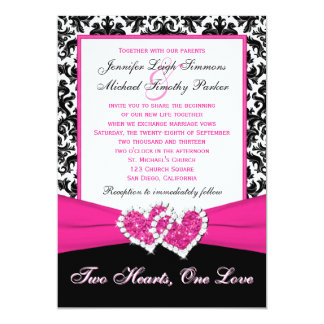 "Black White Pink Damask Hearts Wedding Invitation 5"" X 7"" Invitation Card"