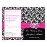Black White Pink Damask Hearts Wedding Program Full Color Flyer