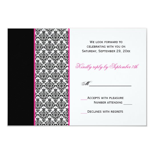 Black White Pink Damask RSVP Card