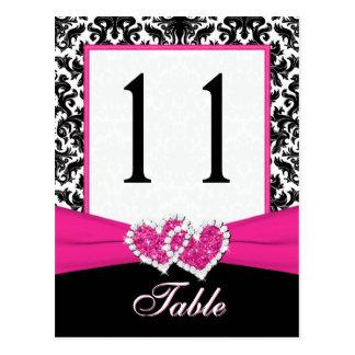 Black, White, Pink Damask Table Number Post Card
