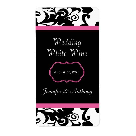 Black, White & Pink Damask Wedding Wine Labels