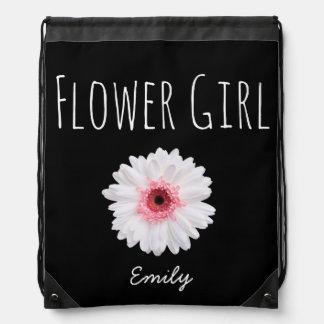 Black white Pink Flower Girl Custom Name Drawstring Bag