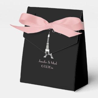 Black White Pink French Eiffel Tower Wedding Favour Box