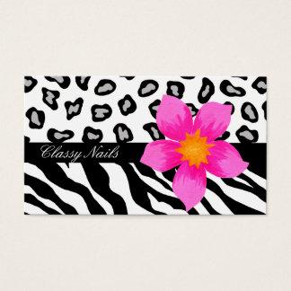 Black, White, Pink & Grey Zebra & Cheetah Skin Business Card