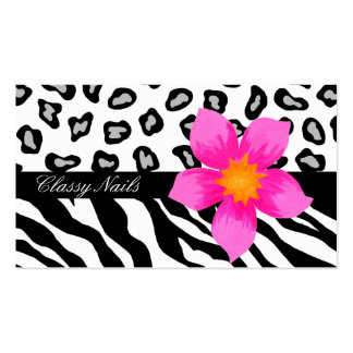 Black, White, Pink & Grey Zebra & Cheetah Skin Pack Of Standard Business Cards