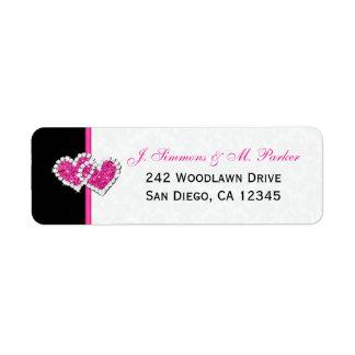 Black White Pink Hearts Return Address Label
