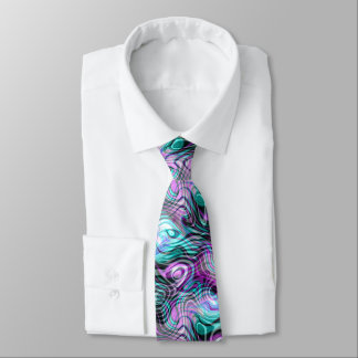 Black White Pink Purple Aqua Turquoise Fractals Tie