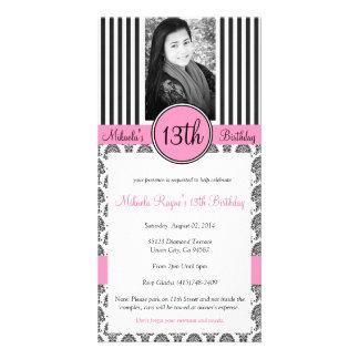 Black, White & Pink Stripe Invite Personalised Photo Card