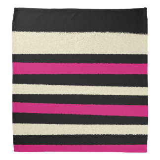 Black White Pink Stripes Cool Simple Pattern Bandana