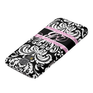 Black White & Pink Vintage Floral Damask Pattern Cases For Galaxy S5