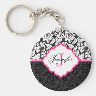 Black White & Pink Vintage Floral Damasks Basic Round Button Key Ring