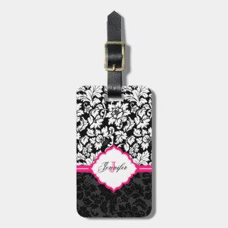 Black White & Pink Vintage Floral Damasks Luggage Tag