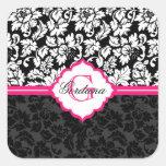 Black White & Pink Vintage Floral Damasks Sticker