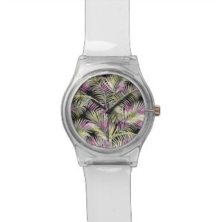 Black white pink watercolor floral palm tree leaf watch