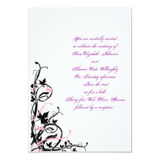 black_white_pink_wedding_invitation_template, Y... Card