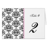 Black, White, & Pink Wedding Table Number