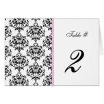 Black, White, & Pink Wedding Table Number Greeting Card