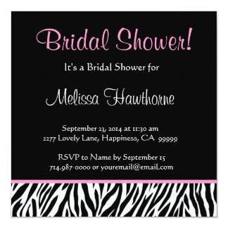 Black White Pink Zebra Print Square Bridal Shower 13 Cm X 13 Cm Square Invitation Card
