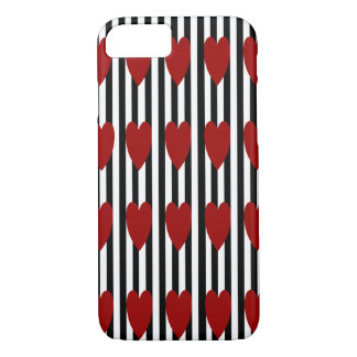 BLACK/WHITE PINSTRIPE RED HEART iPHONE 7/8 CASE