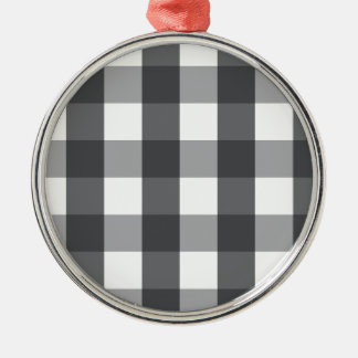 Black & White Plaid Metal Ornament
