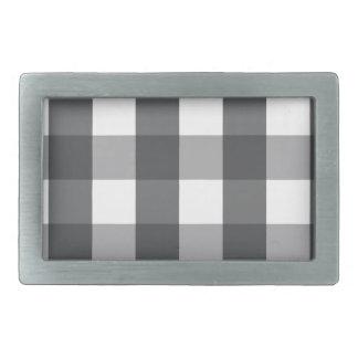 Black & White Plaid Rectangular Belt Buckles