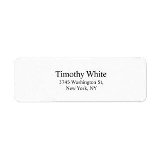 Black & White Plain Elegant Legible Modern Return Address Label