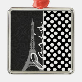 Black & White Polka Dot, Dots; Paris Christmas Tree Ornament