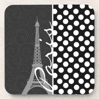 Black & White Polka Dot, Dots; Paris Drink Coaster