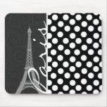 Black & White Polka Dot, Dots; Paris Mousepads